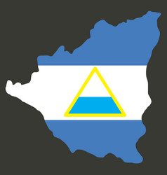 nicaragua map flag with shadow on white vector image
