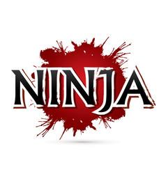 Ninja text font design vector