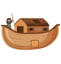 Noah standing alone on his ark isolated on white vector