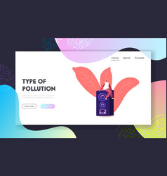 Noise pollution landing page template male vector