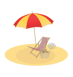 On a summer theme umbrella and chaise longue vector