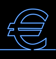 One line drawing of euro sign continuous line neon vector