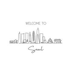 One single line drawing seoul city skyline vector