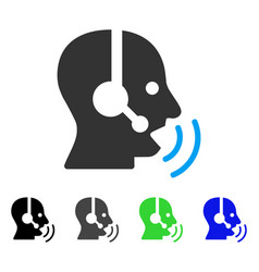 operator speech sound waves flat icon vector image