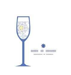 Ornamental abstract swirls wine glass silhouette vector