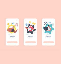 outsource mobile app page onboard screen template vector image