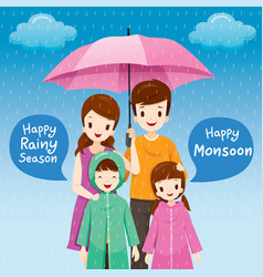 parent and children under umbrella together vector image