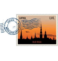 Postmark from Latvia vector