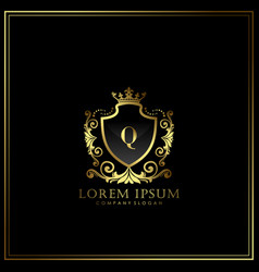 Q initial letter luxury logo template in art vector