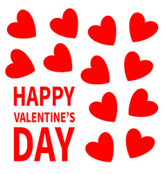 red heart set happy valentines day sign symbol vector image