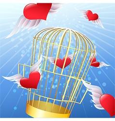 Release of hearts vector