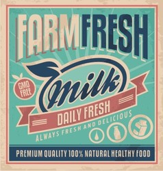 Retro farm fresh milk concept vector image