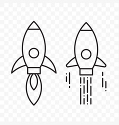 rocket thin line start up project icons set vector image