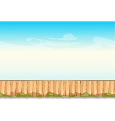 Rural wooden fence blue sky background vector
