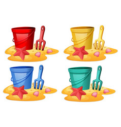 set bucket with spade vector image