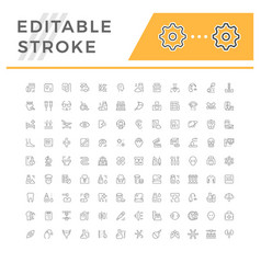 Set editable stroke line icons medicine vector