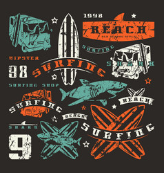 Set graphic elements bus surfing shark vector
