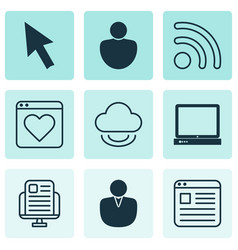 Set of 9 internet icons includes wifi virtual vector