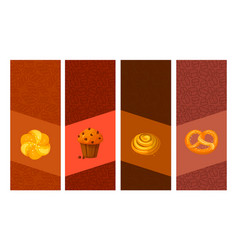 Set of bakery cartoon banners cards vector