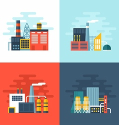 Set of Industrial Factory Buildings Flat Style vector image