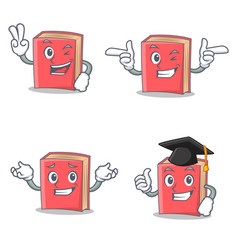 Set of red book character with two finger wink vector