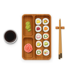 Set sushi rolls with various vector