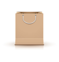 shopping paper bag empty isolated on white vector image