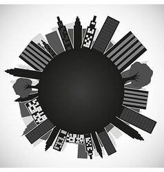 Silhouette of the planet with buildings isolated o vector