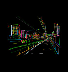 Sketch traffic road in night city for your vector