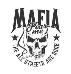 Skull mafia gangsters t-shirt print street gang vector