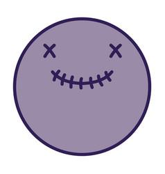 smiley skull happy halloween icon vector image