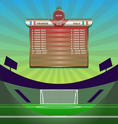 Soccer Match Statistics above Gamefield vector image