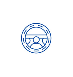 Steering wheeldriving line icon concept steering vector