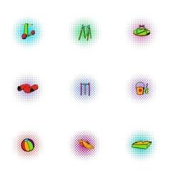 Swings for kid icons set pop-art style vector