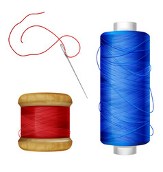 thread spool and sewing needle vector image