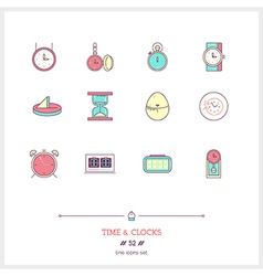 TIME Line Icons Set vector image vector image