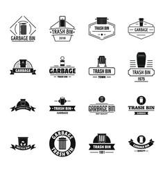 trash bin logo icons set simple style vector image