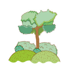 Tree rural landscape in round icon vector