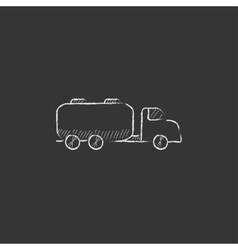 Truck liquid cargo Drawn in chalk icon vector