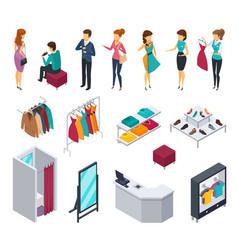 Trying shop isometric people icon set vector