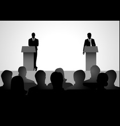 Two men figure debating on podium vector