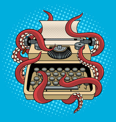 typewriter with octopus tentacles pop art vector image