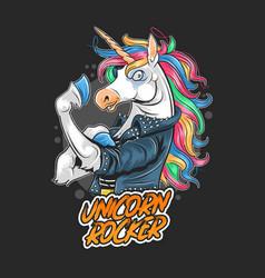 unicorn rocker jacket rider artwork vector image