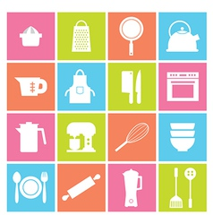 Utensils Icons set 16 vector image
