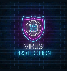virus protection glowing neon sign internet cyber vector image