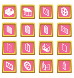 Window forms icons set pink square vector