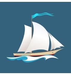Yacht at sea vector