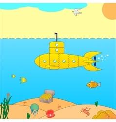 A submarine at sea vector