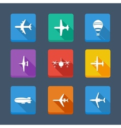 collection airplane and gray Set icons vector image