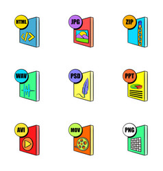 computer file icons set cartoon style vector image